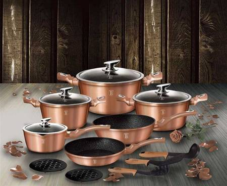 15 pcs cookware set, Rose Gold Collectioon